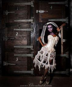 Personalizzato dimensione pizzo avorio in gabbia zombie vittoriano corsetto abito costume con tè tinto arruffato mutandine s-xl