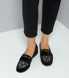 Black Velvet Embroidered Loafers    New Look