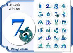 selbstklebende Zahlen Adventskalender Monster von Jasuki auf DaWanda.com
