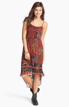 Quilty and grungy---I like it. Band of Gypsies Lace Inset Print High/Low Dress (Juniors)---Nordstrom