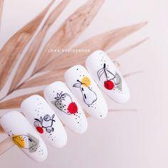 Fruit nail art for summer Fruit Nail Designs, Nail Designs Spring, Nail Art Designs, Rose Nails, My Nails, Fruit Nail Art, Nailart, Nail Art Videos, Pretty Nail Art