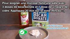 recette d'un traitement pour soigner naturellement une mycose avec du bicarbonate et du vinaigre de cidre