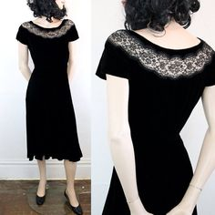 Vintage 1940s black dress . Midnight Tryst . black velvet 40s dress with illusion neckline . black illusion dress . sm / small . As Is