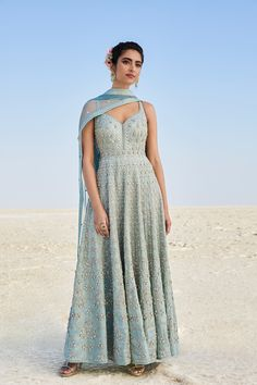 Designer Suits - Buy Perigia Suit for Women Online - SS19RR034_Powder Blue - Anita Dongre