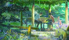 The Garden of Words (Japanese: 言の葉の庭 Hepburn: Kotonoha no Niwa) is a 2013 Japanese anime comedy/drama film written, directed and edited by Makoto Shinkai, animated by CoMix Wave Films and distributed by Toho. The Garden Of Words, Anime Music Videos, Anime Couples Drawings, Kimi No Na Wa, Get Up And Walk, Ghibli Movies, Young And Beautiful, Studio Ghibli, Fun To Be One