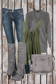 grey and green & I LOVE those boots!!