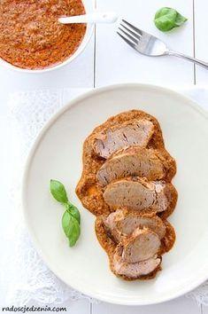 Przepis na: Polędwiczki wieprzowe w sosie z czerwonym pesto Pork Recipes, Pesto, French Toast, Lunch, Food And Drink, Dinner, Cooking, Breakfast, Main Courses