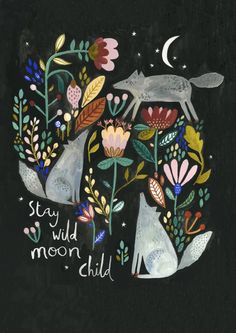 Wolves by Rosie Harbottle Stay wild moon child Art And Illustration, Inspiration Art, Art Inspo, Stay Wild Moon Child, Wild Child, Art Populaire, Art Design, Sketch Design, Crayon