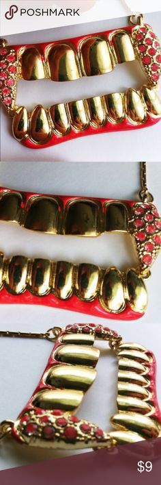 Teeth red grill tooth painted necklace pendant TEETH MALICIOUS evil gold red necklace  VAMPIRE super sonic boom marvelous twilight saga pow comics unisex mens action play unisex     gold tone chain   1-1/2 INCH TALL and apporx 2 inches across   hand painted red  paint   UNISEX STYLE Jewelry Necklaces