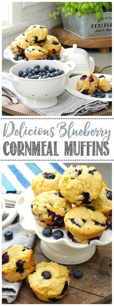 Blueberry Cornmeal Muffin Recipe. These are the perfect sweetness and SO tasty! Perfect for a breakfast or snack on the go! #muffins #breakfastideas #snackideas #healthysnacks