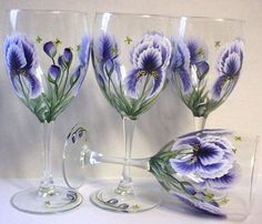 one stroke painting iris | One stroke Iris wine glasses