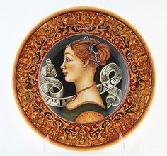 Тарелка с изображением портрета дамы с картины итальянского художника эпохи Возрождения Пьеро дель Поллайоло (1470 год)