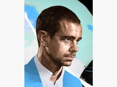 HelloVon Studio www.hellovon.com, leading portrait illustrator. Jack Dorsey Twitter. Contemporary illustration, power, modern, motion, movement, brush, colour, painting, ink, watercolour, celebrity, icon, hero, iconic.