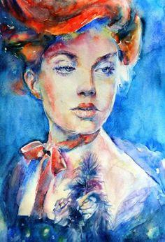 Watercolor Portraits by Lana Khavronenko - Pondly blue