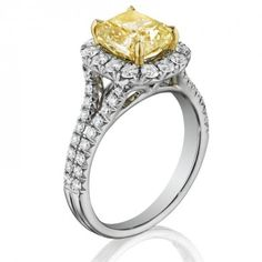 18K Two Tone 0.90 ct Henri Daussi Round Diamond Pave Split Shank Engagement Ring Fancy Color Setting AMDSY-IAND