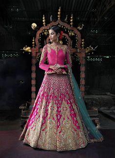 Gorgeous pink and gold designer bridal lehenga. Indian bridal fashion.