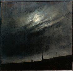 Johan Christian Dahl Moon night over Dresden, Norwegian landscape art. Vincent Van Gogh, Dresden, Landscape Art, Landscape Paintings, Landscapes, Dark Paintings, Beautiful Paintings, Johan Christian Dahl, Moon Art
