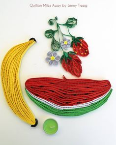 Project8: Passionate Fruits #quilling #art #quillingart #artist #jennytreeg #madebyme  #handmade #paper #colors #fruit #gift #present #flowers #strawberry #strawberries #red #watermelon #banana #yellow
