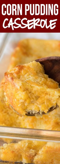 This super easy Corn Pudding Casserole Recipe is filled with creamy cornbread and makes the perfect side dish! Spicy Recipes, Baby Food Recipes, Fall Recipes, Mexican Food Recipes, Holiday Recipes, Vegetarian Recipes, Cooking Recipes, Venison Recipes, Cooking Bread