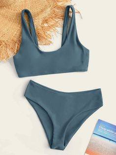 Check out this Plain Scoop Neck Bikini Swimsuit on Shein and explore more to meet your fashion needs! Summer Bathing Suits, Girls Bathing Suits, Summer Suits, Crochet Bathing Suits, Cute Swimsuits, Cute Bikinis, Women's Bikinis, Swimsuits For Teens, Style Surfer