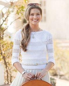 Amanda Saladin's Jetsetter Sweater Pattern for @Rachel Lee Today gives a modern twist to classic filet #crochet