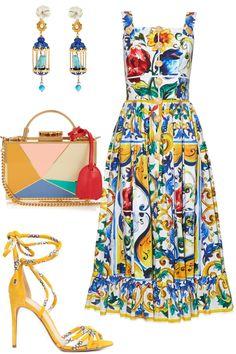 "Tropic Thunder:Dolce & GabbanaMajolica-print frilled hem dress, $2,448,matchesfashion.com;Of Rare Origin""Aviary Classic"" earrings in blue, $1,450,shopBAZAAR.com;Mark Cross""Grace"" mini enamel and gold plated box bag, $4,212,matchesfashion.com;Alexandre Birman""Keane"" sandals, $895,farfetch.com"