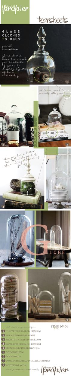 glass cloches + globes for display #styling #propstyling #objectstyling #houseofproper www.houseofproper.com