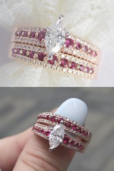 bedebb7198 Triple Row Marquise Shaped Diamond Wedding Ring Sets With Dark Pink  Sapphire In 14K Rose Gold