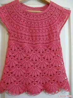 Blusa rosa flores crochê