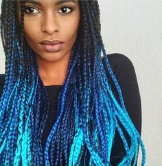 Blue ombre braids! We've got you covered -- X-pression Braids in ombre hues available @CloreBeauty!