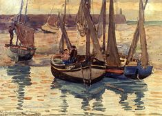 Small Fishing Boats, Treport, France, 1894 - Maurice Prendergast (American, 1858-1924) Impressionism