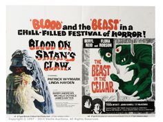 Blood On Satan's Claw / The Beast In The Cellar British Quad x Double Bill Film Poster. Stored in a cupboard since Horror Posters, Horror Films, Tessa Wyatt, Michele Dotrice, Teenage Werewolf, Best Movie Posters, The Claw, Two Movies, Best Horrors
