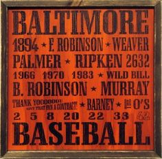 Baltimore Orioles Vintage Wood Sign