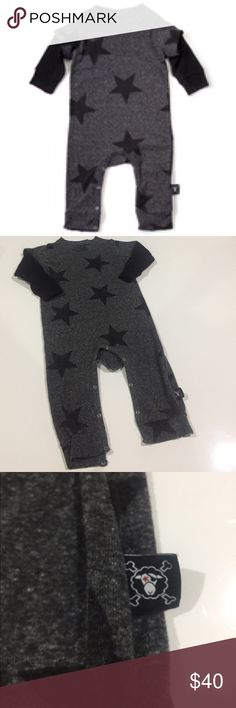 Nununu Distressed Black Stars Playsuit Black Stars Playsuit by NUNUNU Baby - Contemporary unisex black layered-look playsuit with grey star print and heather grey bottom sleeves. Bottom snaps between legs and a raw edge effect for a deconstructed look with custom torn edges. 18-24 months Nununu One Pieces Bodysuits