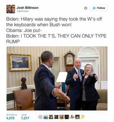 A roundup of the best memes showing Barack Obama and Joe Biden's imagined conversations about pranking Donald Trump.: Changing the Keyboards