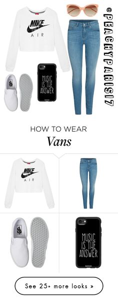 """@peachyparis17"" by underthesea29 on Polyvore featuring NIKE, Vans, Linda Farrow and Casetify"