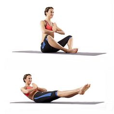 Butterfly Extension- Sit with knees bent and open to sides, soles of feet together; bring hands together in front of chest. Keeping core tight, slowly extend legs, allowing them to hover a few inches off floor (raise them a bit higher if that's too challenging), and lean back until your mid-back almost touches floor. Hold for a few seconds, and then slowly return to previous position. Do 10-20 reps.