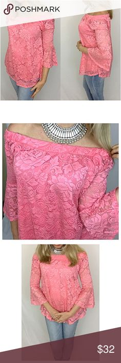 """✨1HRSALE Rich Blush Lace Bell Sleeves Tunic Top SM Absolutely gorgeous dark blush all over lace flowy tunic blouse. Floral pattern lace overlay & bodice is lined. On trend bell sleeves with elastic neckline that can be worn off the shoulder or not. 90% Nylon 10% Spandex. WOW🌸  Small Bust 34-36 Length 23"""" Medium Bust 36-38 Length 24"""" Large Bust 38-40 Length 25"""" Tops"""