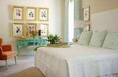 Turquoise Desk, Traditional, Bedroom, Sherwin Williams White Duck, Tobi Fairley