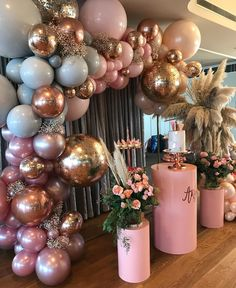 pink and gold party decor. Great for a birthday, bachelorette, bridal, or even a baby shower. Shower Party, Bridal Shower, Shower Cake, Baby Shower Decorations, Wedding Decorations, Parties Decorations, Baby Decor, 18th Birthday Party Ideas Decoration, Sweet Sixteen Decorations