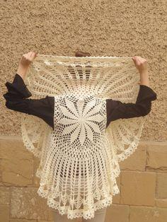 Crochet Bolero Champagne Circle Flower Mandala Cardigan, Shrug, Sweater ,Jacket gift for Women Girl Mom MADE TO ORDER via Etsy
