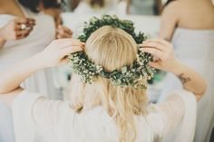 Flower Crown | Ali Paul Photography | Boho Wedding at Farbridge Farm | Wild Flowers & Greenery | Laure de Sagazan Allen Bridal Gown from The Mews Nottinghill