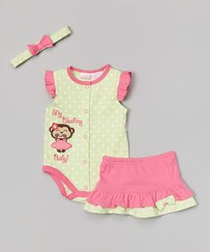 Look what I found on #zulily! Green Polka Dot 'My Blushing Baby' Bodysuit Set - Infant by Petite Bears #zulilyfinds