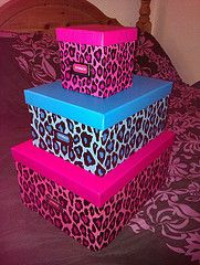 Leopard print boxes stack