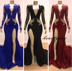 - - Mermaid Prom Dresses 2019 Gold Lace Evening Dress Party Gowns Long Sleeve Special Occasion Dress Front Split Black Girl Couple Day Source by Backless Mermaid Prom Dresses, Prom Girl Dresses, Prom Outfits, Prom Dresses Long With Sleeves, Prom Dresses 2015, Lace Evening Dresses, Prom Dresses Online, Sexy Dresses, Evening Gowns