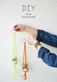 Easy Macrame Projects for the Beginner : Mini Bright Colors Macrame Plant Hanger Macrame is a super popular diy trend. Check out these super easy macrame projects for the beginner. You can complete them in a weekend and make something t Macrame Projects, Craft Projects, Fun Crafts, Arts And Crafts, Creative Crafts, Ideias Diy, Macrame Tutorial, Diy Tutorial, Macrame Knots
