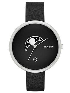 SKAGEN GITTE | SKW2372 Skagen Watches, Beautiful Watches, Leather Accessories, Cool Watches, Black Watches, Moonphase Watch, Black Leather Watch, Black Jewelry, Ladies Watches