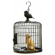 Found it at Wayfair - Bird Cage and Cat Sheet Metal Wire Lantern