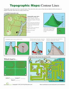 Worksheet Topographic Maps Worksheet style geography and contours on pinterest fifth grade worksheets how to read a topographic map