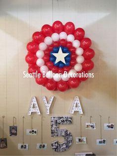 Superhero theme party. Captain America shield balloon - Visit to grab an amazing super hero shirt now on sale!